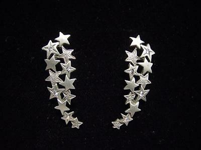 jj Jonette Jewelry Silver Pewter 'shooting Stars With Jewels' Pierced Earrings