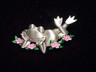 jj Jonette Jewelry Silver Pewter 'smiling Frog Among The Flowers' Pin