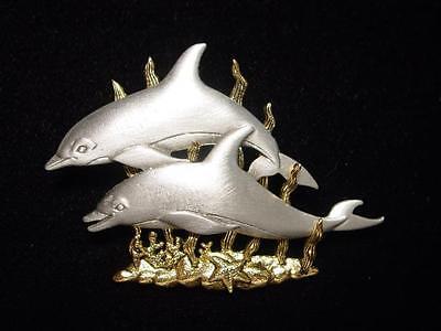 jj Jonette Jewelry Silver Pewter 'dolphins' Pin Double Trouble