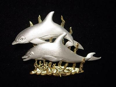 jj Jonette Jewelry Silver Pewter 'dolphins' Pin Double Trouble