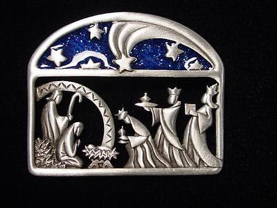 Jj  Jonette Jewelry Silver Pewter X Mas Nativity Scene W  Three Wise Men Pin