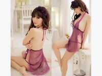 Womens Sexy Backless Lace-up Purple Dress Sleepwear G-String Set Lingerie