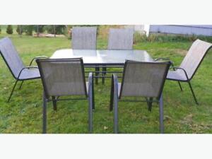 Seven piece outdoor patio furniture set