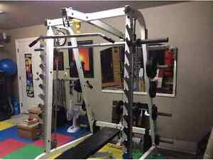 Smith machine half rack with lat and row pulley bench amazing