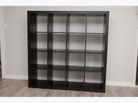 Ikea Expedit (now kallax) bookcase shelving unit in dark brown 4x4