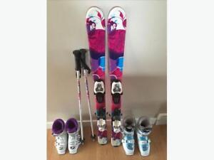 Girl's Ski's, Bindings, Poles, Boots