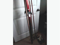 Cross-country skis and bamboo poles (no boots)