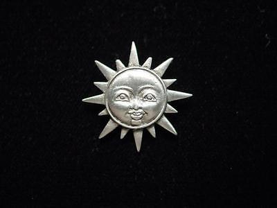 Jj  Jonette Jewelry Silver Sun Face Tac Pin