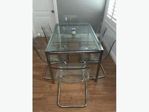 GLASS TABLE + CHAIRS - USED ONLY FOR 1 YEAR. **GREAT CONDITION**