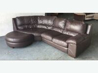 WANTED BROWN LEATHER FOOT STOOL HALF MOON