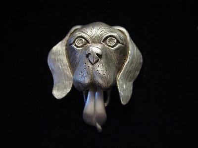 """JJ"" Jonette Jewelry Silver Pewter 'Tongue Wagging DOG' Pin ~ Tongue Moves!"