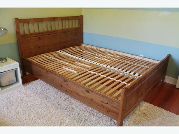 Clic Ikea Hemnes Solid Wood Bed Frame With Mattress Topper 160cm X 200cm