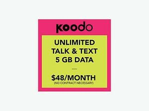 Koodo 5GB LTE $48/Month + $50 Free Credit