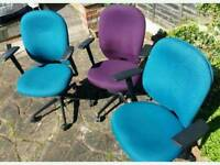 DESK CHAIRS PURPLE AND BLUE