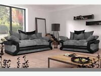 Free Delivery NEW DINO 3 SEATER AND 2 SEATER FABRIC SOFA SUITE IN BLACK GREY OR BROWN BEIGE