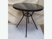 Glass Top Garden Table - Black