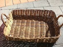 Wicker Basket Tray - Natural Cane with Handles  (he422) Burwood Burwood Area Preview