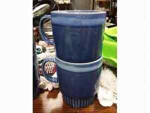 Vintage 6 Blue Drip Paint Mugs Regina Regina Area image 2