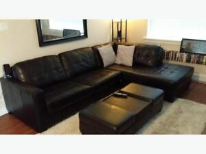 Leather Sectional Couch (The Brick) $500