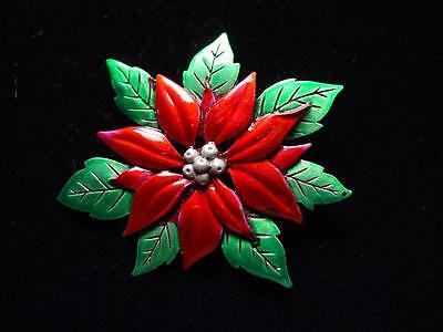 Jj  Jonette Jewelry Silver Pewter Beautiful Red Poinsettia Pin    Christmas