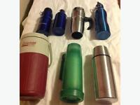 Assorted Thermos' and Water Bottles