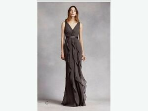 V-NECK WRAPPED BODICE DRESS WITH SATIN BELT by Vera Wang Size 24