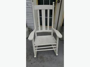 White Wood and Wicker Rocker