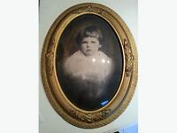 Antique picture and picture frame with convex glass