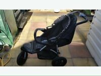 MOTHERCARE 3 WHEELER PRAM / PUSHCHAIR in EX condition + FREE stage 1 CAR SEAT IF REQUIRED!!