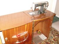Sewing Machine by Brother - 60's (Machine Furniture with Vintage Retro Cabinet)