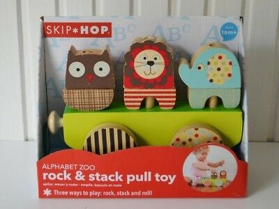 Skip Hop Alphabet Zoo Rock and Stack Pull Toy **Brand New***