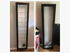 IKEA wall mounted glass fronted display cabinet
