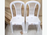 2x White Plastic Chairs