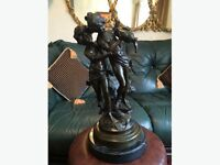 Signed Bronze Statue Two Girls Holding Water Jug