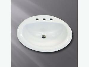 WHITE DROP IN BATHROOM SINK. Single and three hole