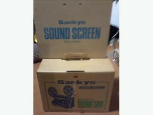 Sankyo film projector and soundscreen