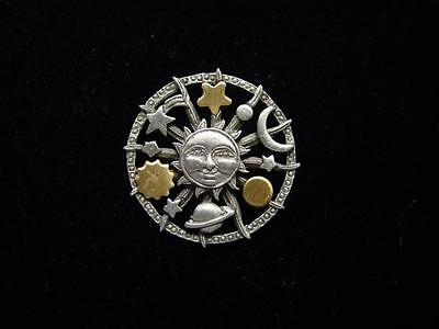 Jj  Jonette Jewelry Silver Pewter Celestial   Planet   Sun   Star Tac Pin
