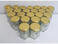 47x Hexagon Glass Storage Jar Pot Gold Screw Lid