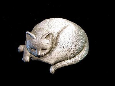 Jj  Jonette Jewelry Silver Pewter Sleeping Cat Pin