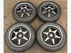 "JDM Rota Inter Milano RG6 ""Racing Gear 6"" 16"" Alloy Wheels with Tyres 5 x 114 5 x 100 4 x100 RARE"