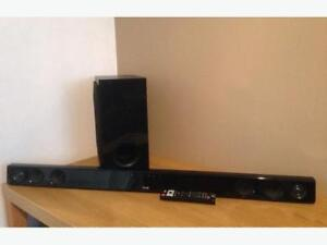 Home audio wireless sound bar and subwoofer