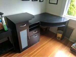 Large Black Corner Office Desk with Drawers