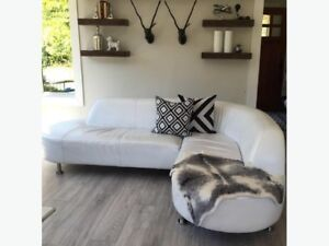 White Faux Leather Couch