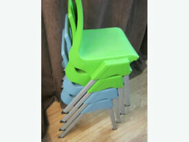 Metalliform Child's Chair Stackable x 2 Blue x 2 Green
