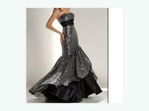Prom/formal black & silver Sequin mermaid dress, size 6