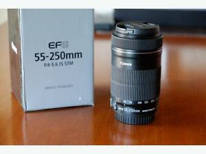 Canon 55-250mm f4-5.6 STM zoom lens  (Like new with box)