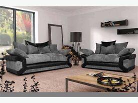 dino jumbo cord fabric + leather 3+2 seater sofa in black grey brown beige