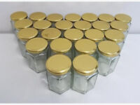 47x Hexagon Glass Storage Jar Pot Gold Screw Lid