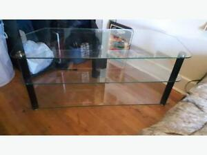 Glass TV stand / table with metal braces