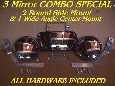 3 SkidSteer MIRRORS 2 Side & 1 Center skid steer loader Fits bobcat gehl cat etc